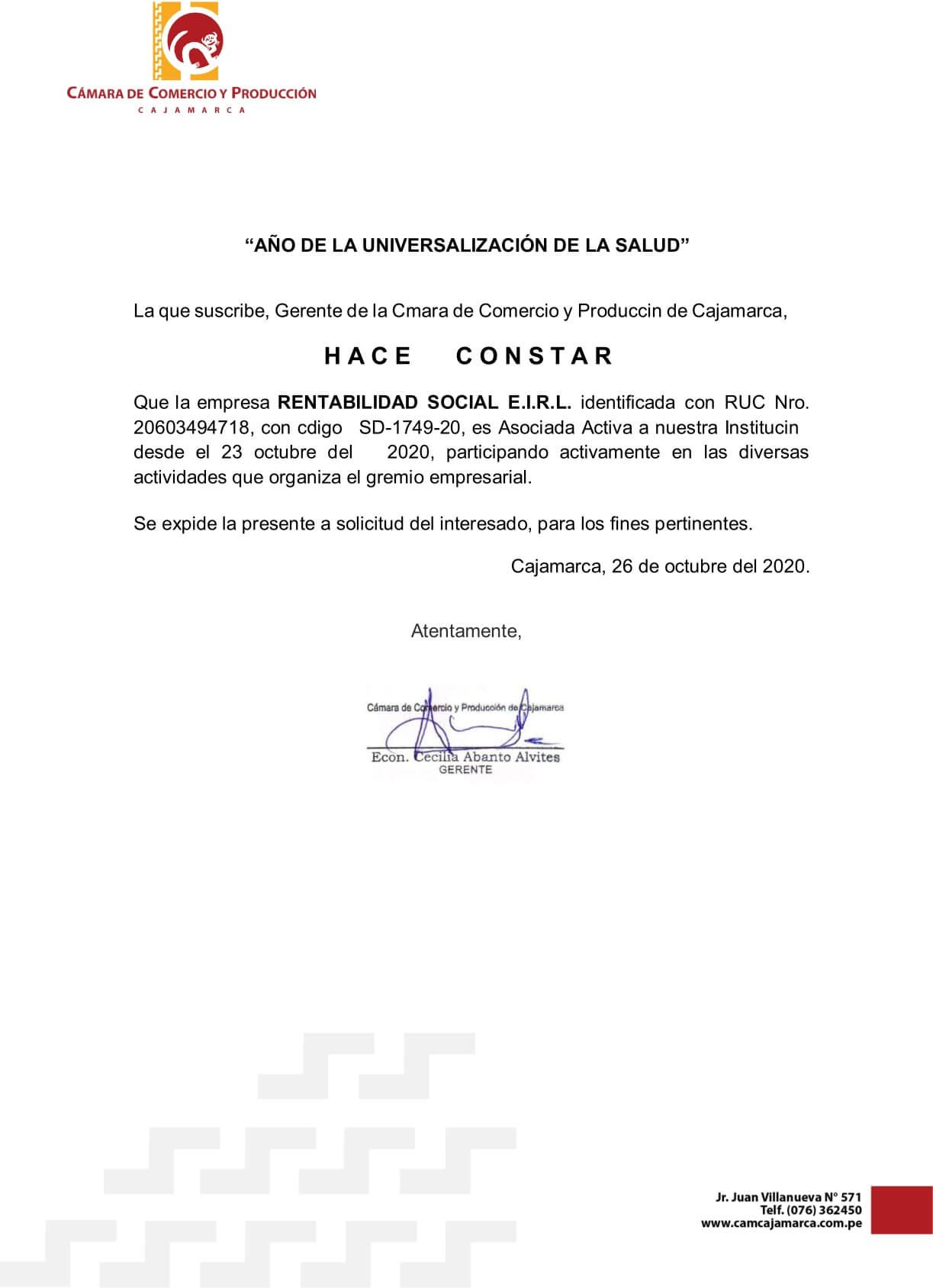 Rentabilidad Social Perú Asociado a la Cámara de Comercio y Producción de Cajamarca